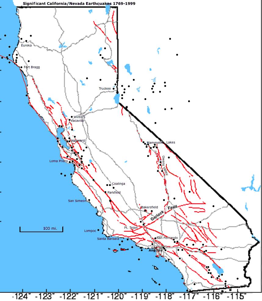 Quakes Faults Hd Hq Map Map California Fault Lines - Klipy - California Fault Lines Map