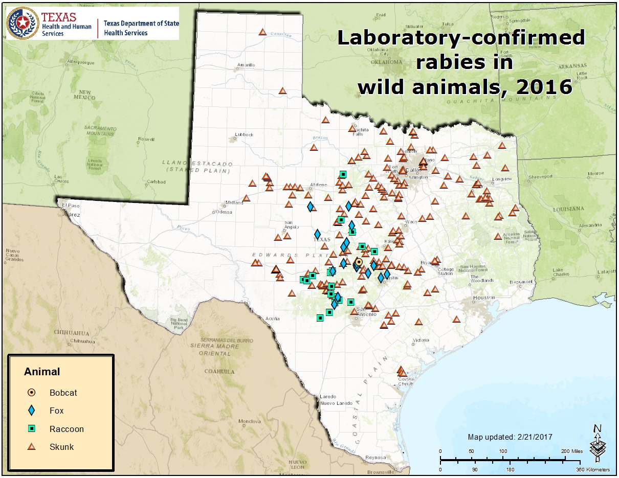 Rabies Maps For 2016 - Aaa Texas Maps