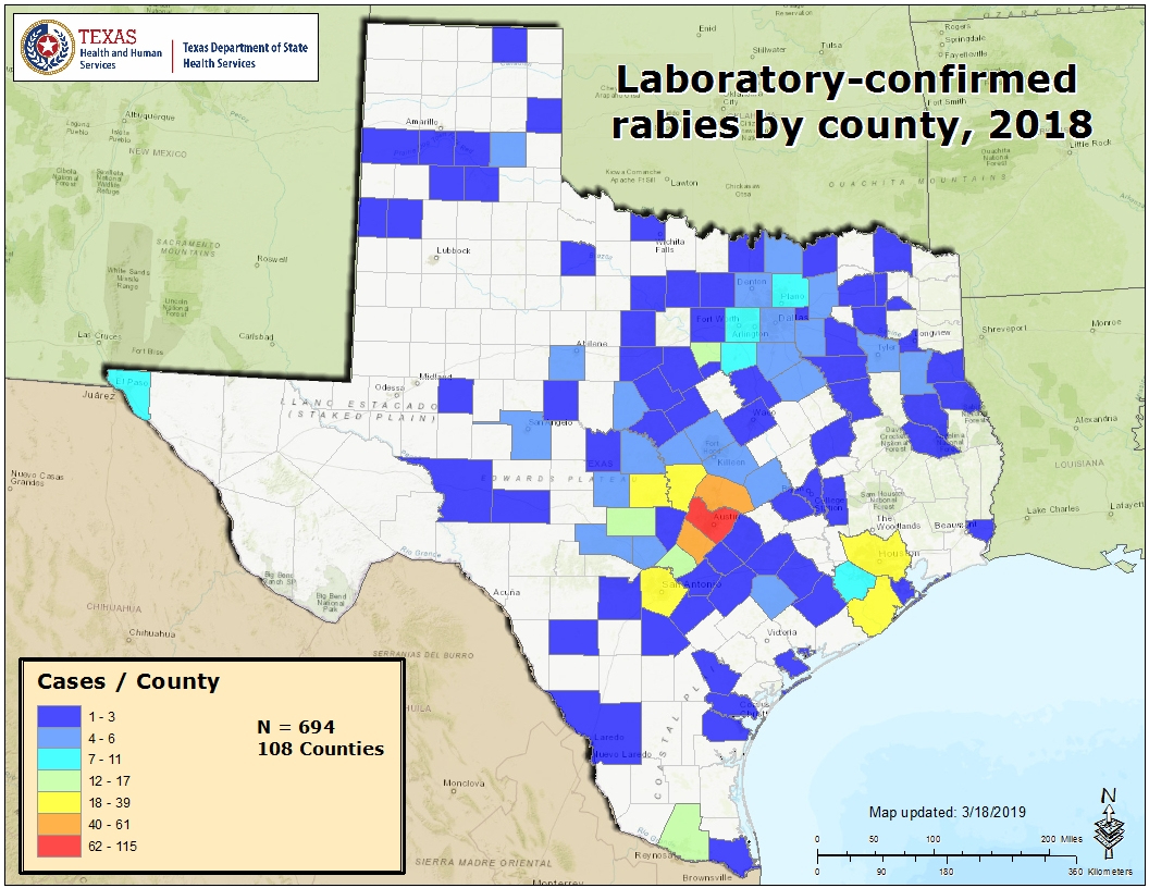 Rabies Maps For 2018 - Mountain Lions In Texas Map