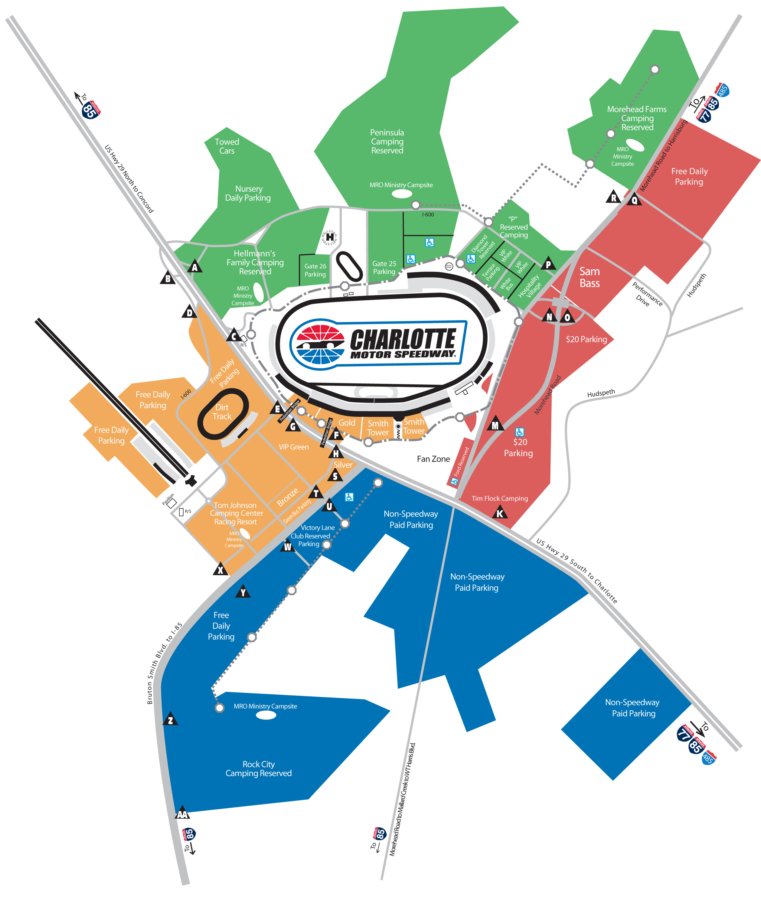 Race Day Parking | Tickets | The Speedway Club - Texas Motor Speedway Parking Map