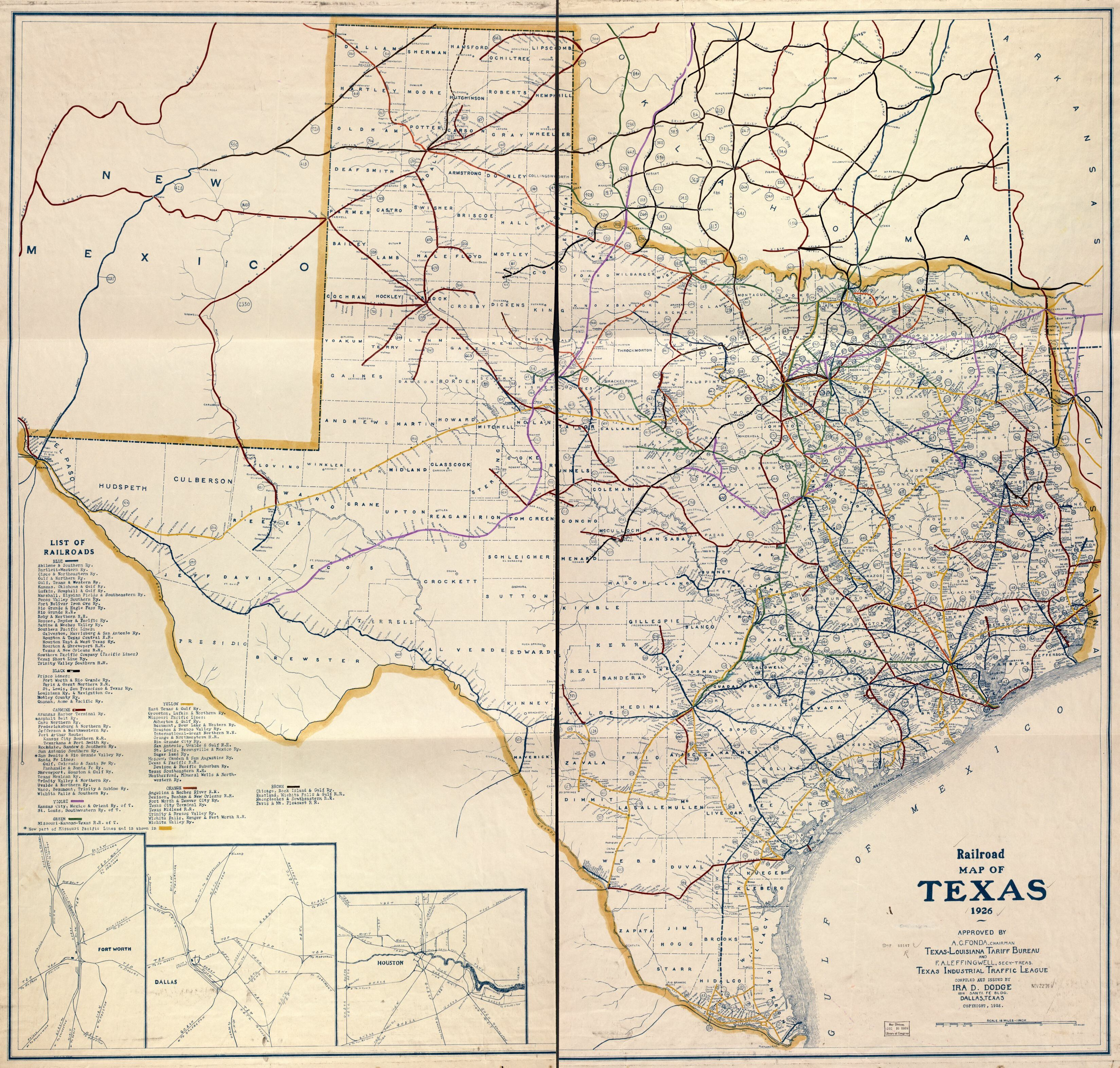 Railroad Map Of Texas, 1926 | Library Of Congress - Shiner Texas Map