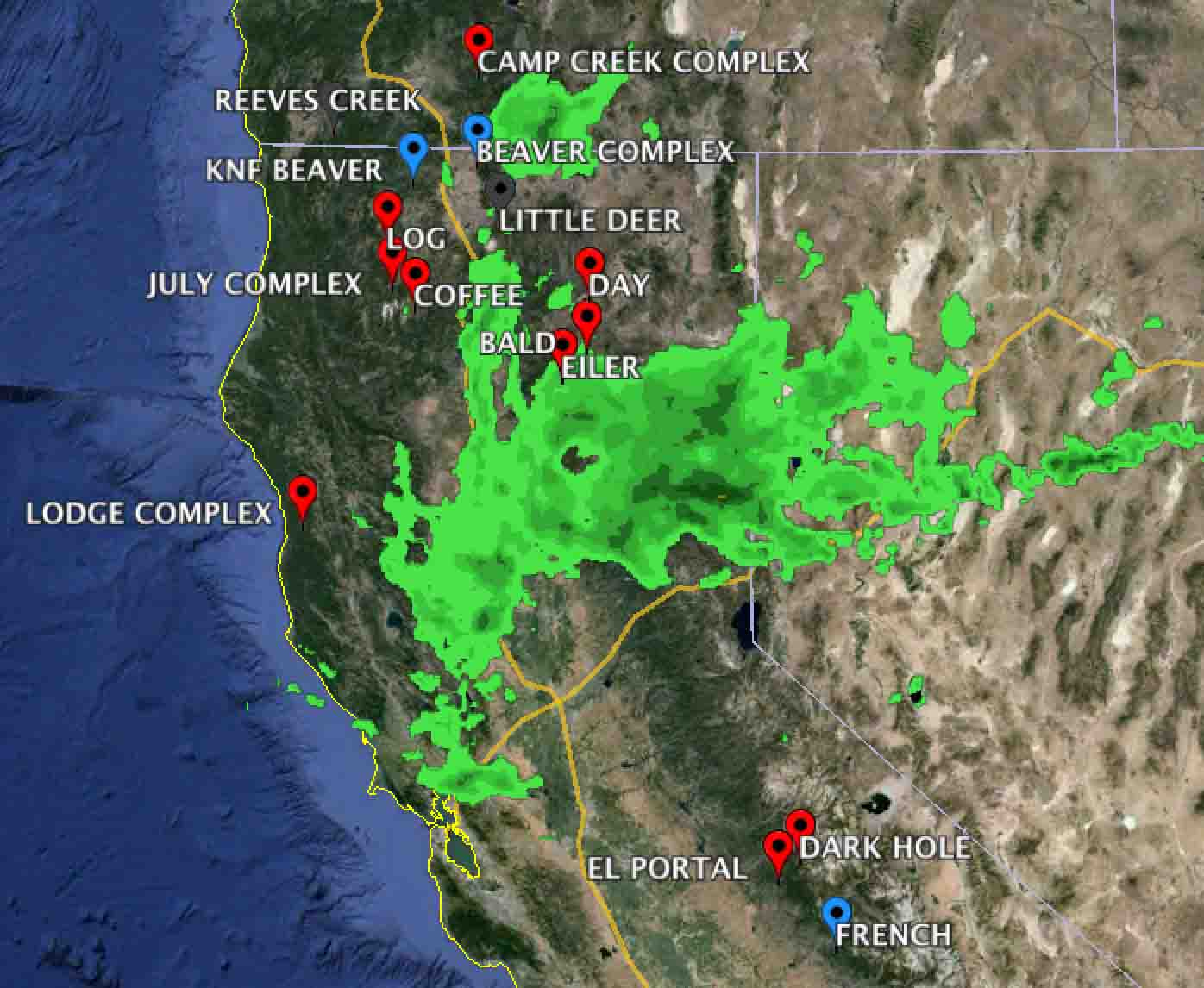 Rain And Red Flag Weather Radar Map California Google Maps - California Weather Map For Today