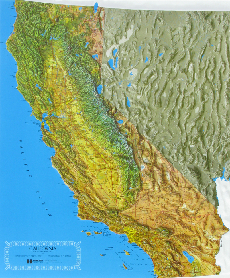Raised Relief Maps Of California - California Relief Map Printable