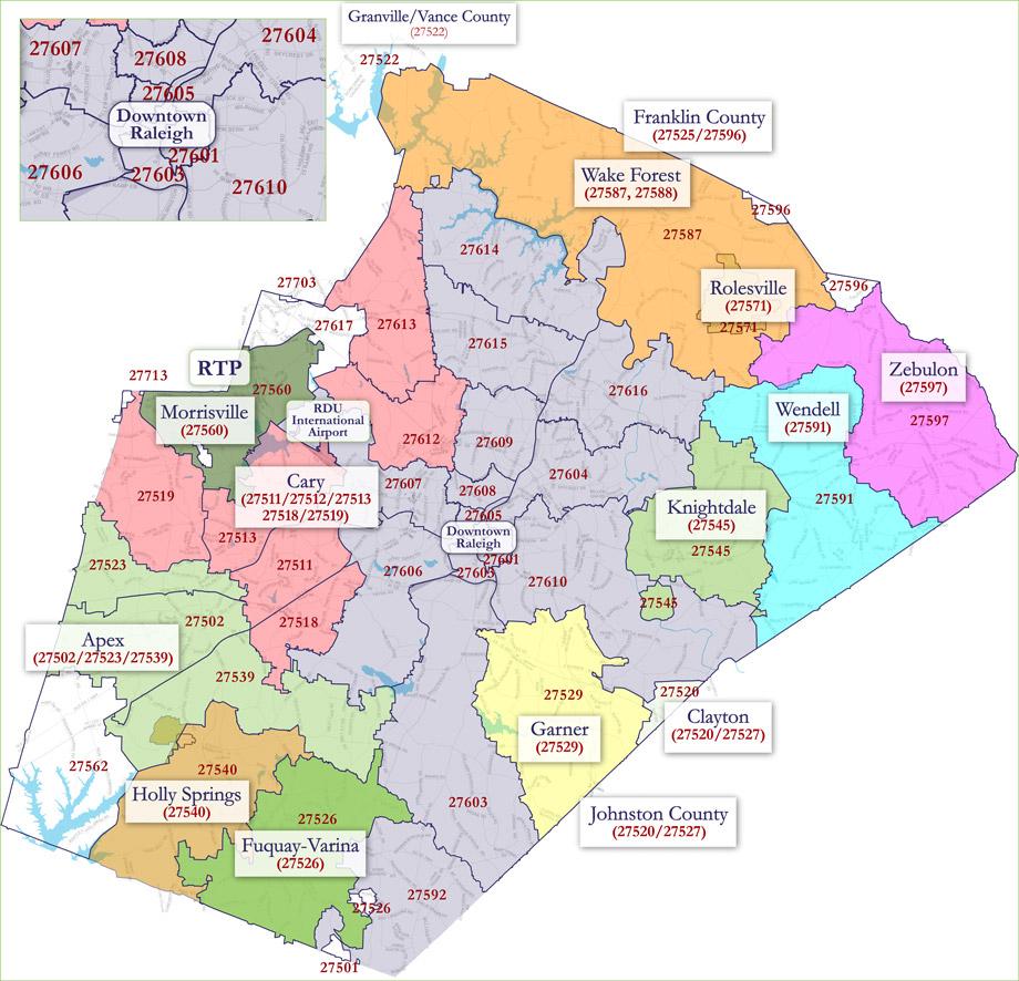 Raleigh Zip Code Map - Printable Map Of Raleigh Nc