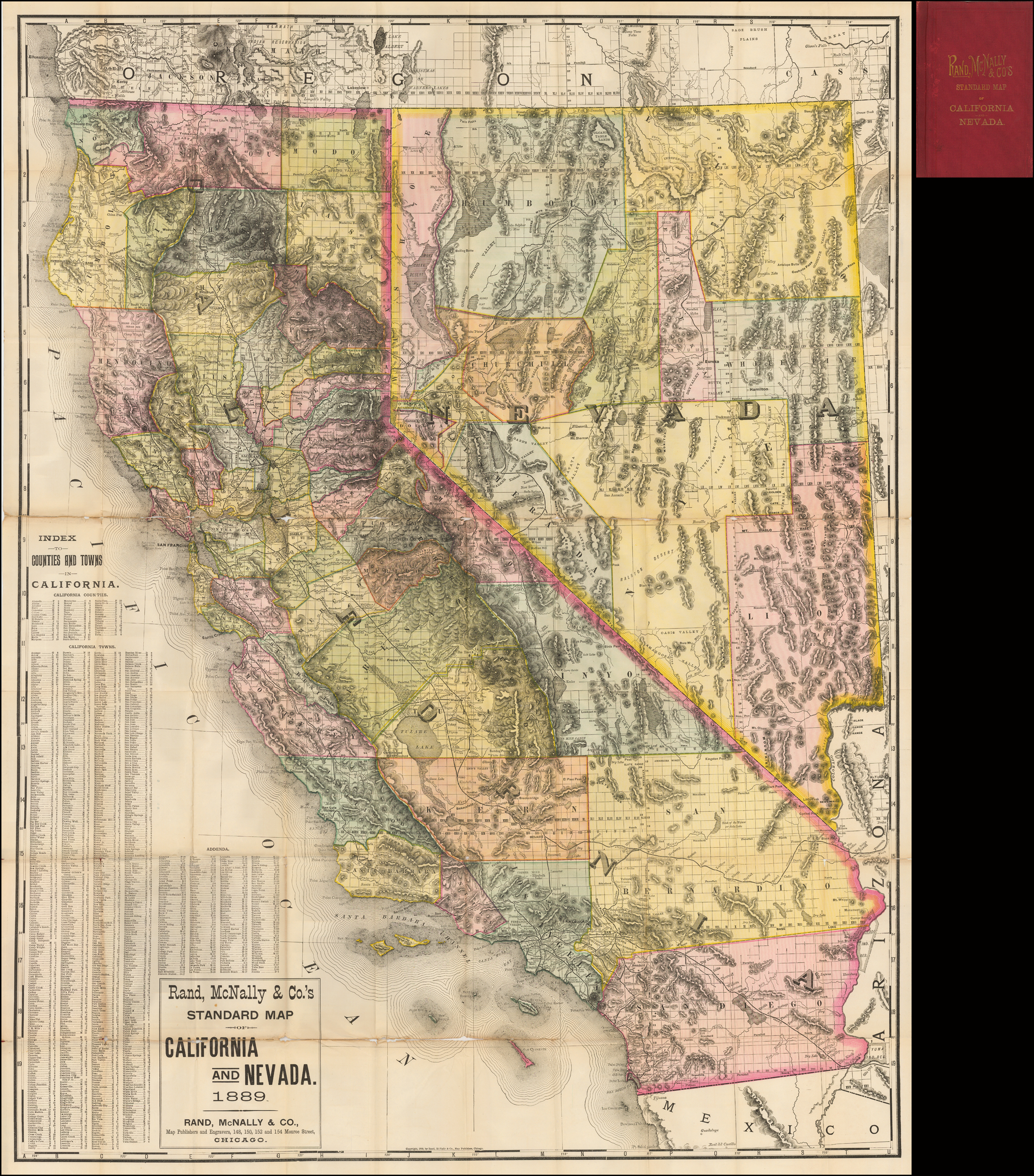 Rand, Mcnally & Co.'s Standard Map Of California And Nevada 1889 - Rand Mcnally California Map