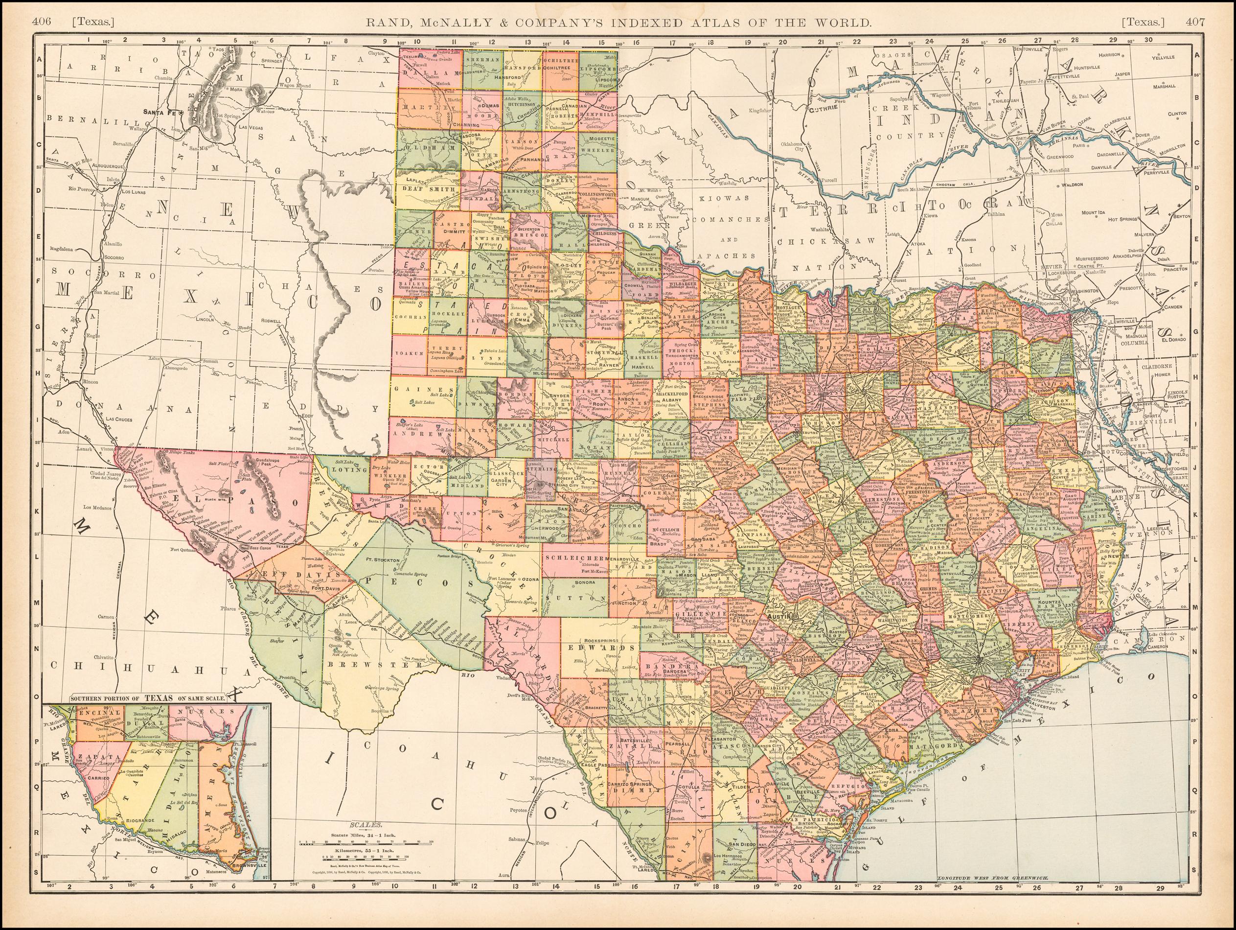 Rand Mcnally & Company's Indexed Atlas Of The World Map Of Texas - Texas Atlas Map