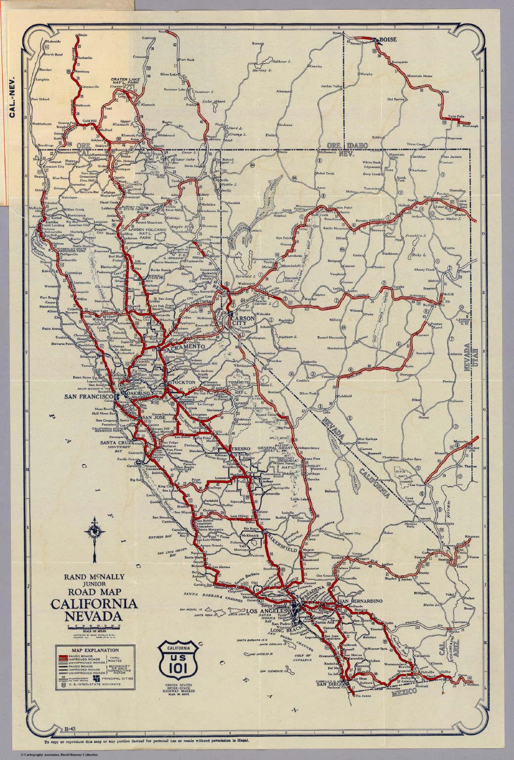 Rand Mcnally Junior Road Map California And Nevada. - David Rumsey - Rand Mcnally California Map