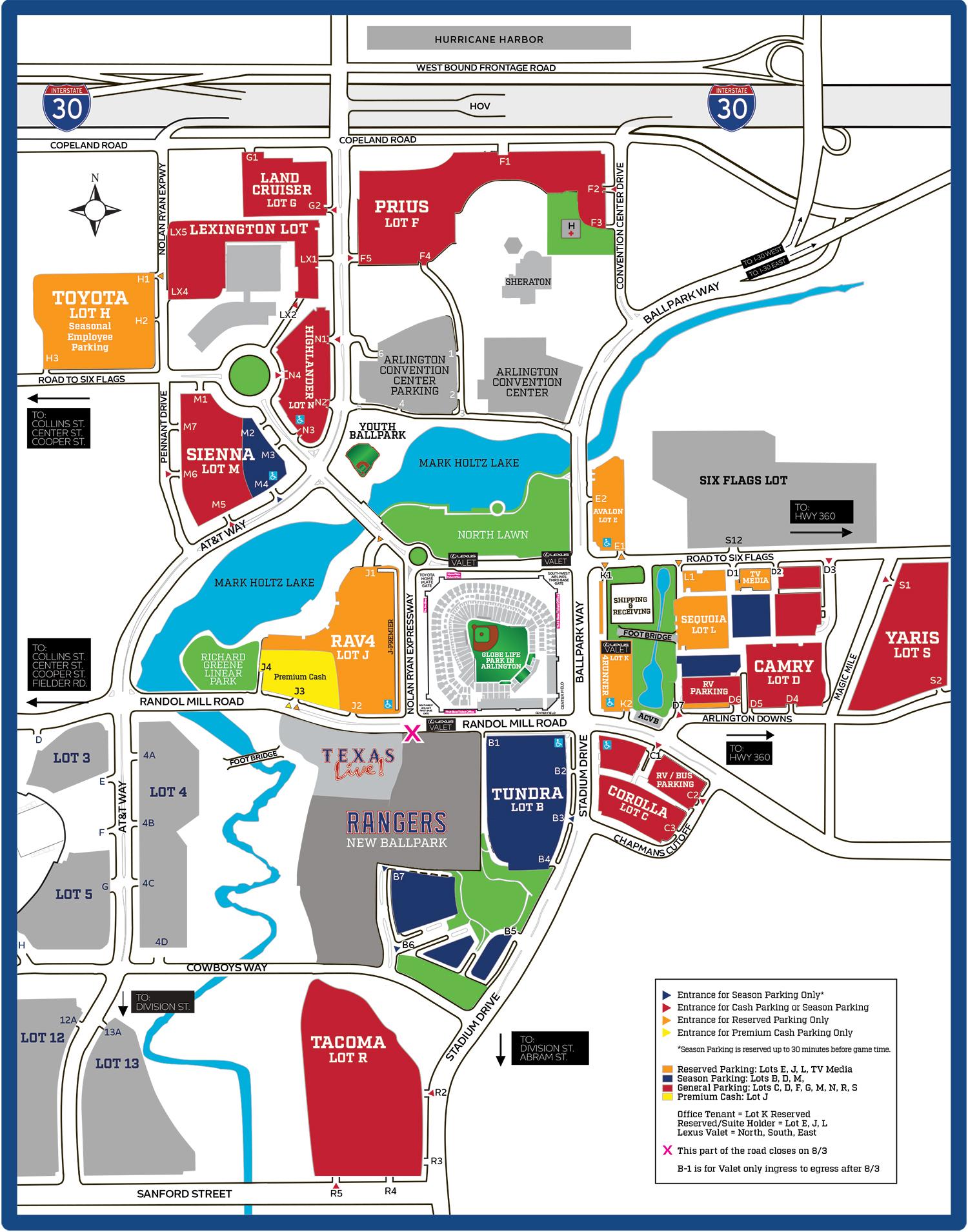 Rangers Advise Public Of Parking Lot Changes – Cbs Dallas / Fort Worth - Texas Rangers Season Ticket Parking Map