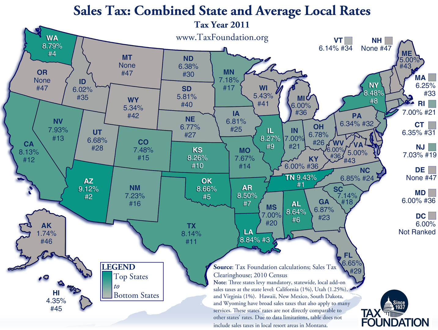 Ranking State And Local Sales Taxes | Tax Foundation - Texas Sales Tax Map