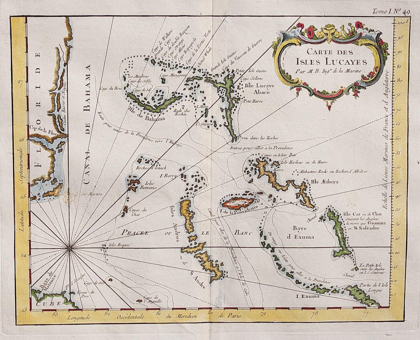 Rare Map Of The Bahamas And East Coast Of Florida || Michael - Jennings Florida Map