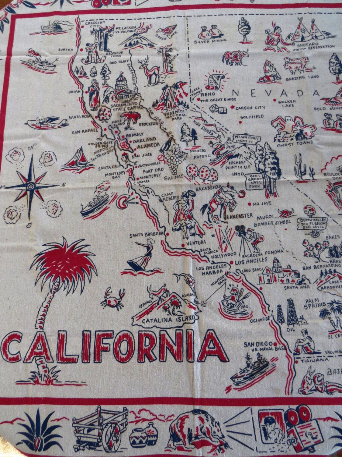 Rare Vintage California State Map Tablecloth California Nevada - Vintage California Map Tablecloth