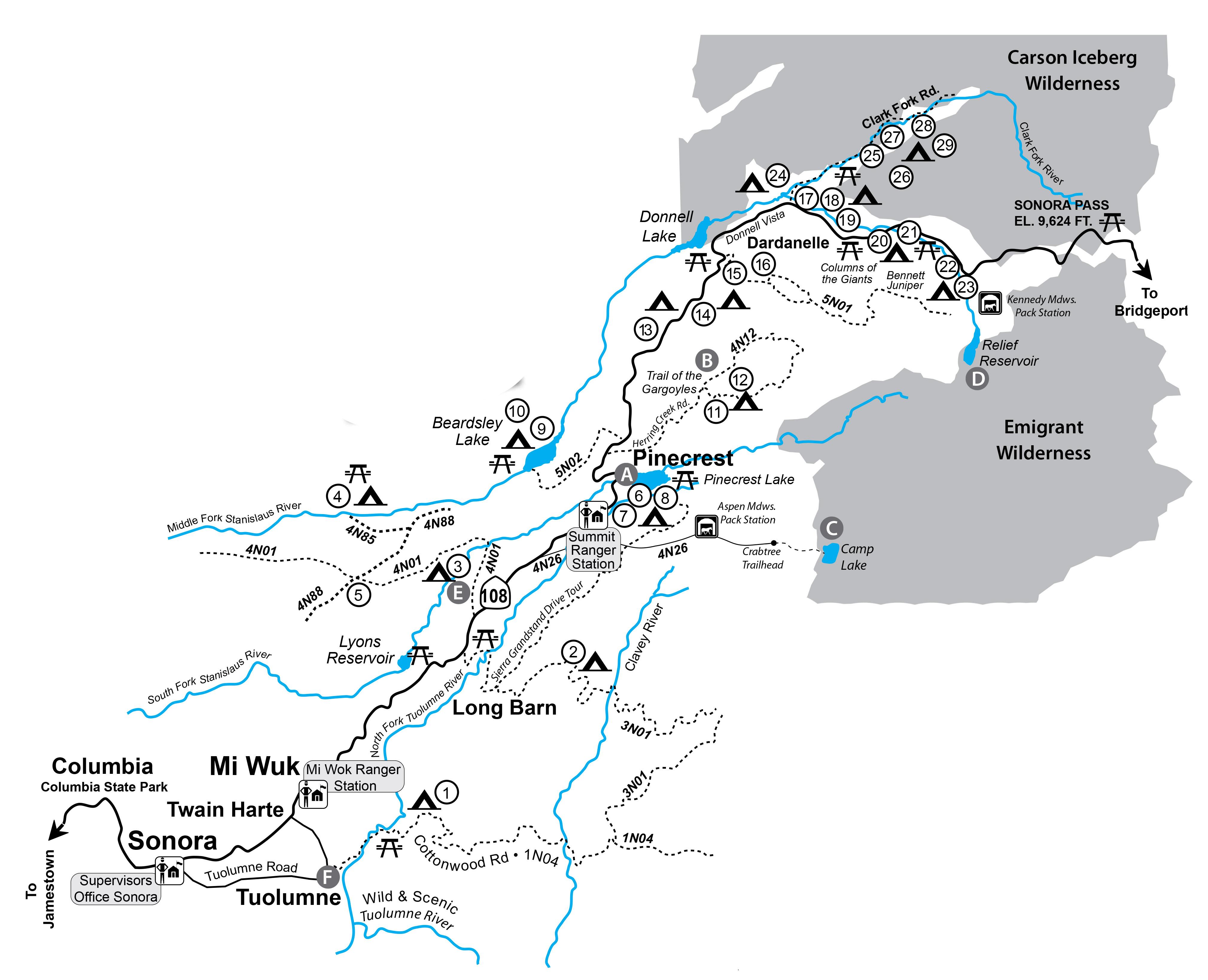 Recarea Google Maps California Campsites In California Map Free - Free Camping California Map