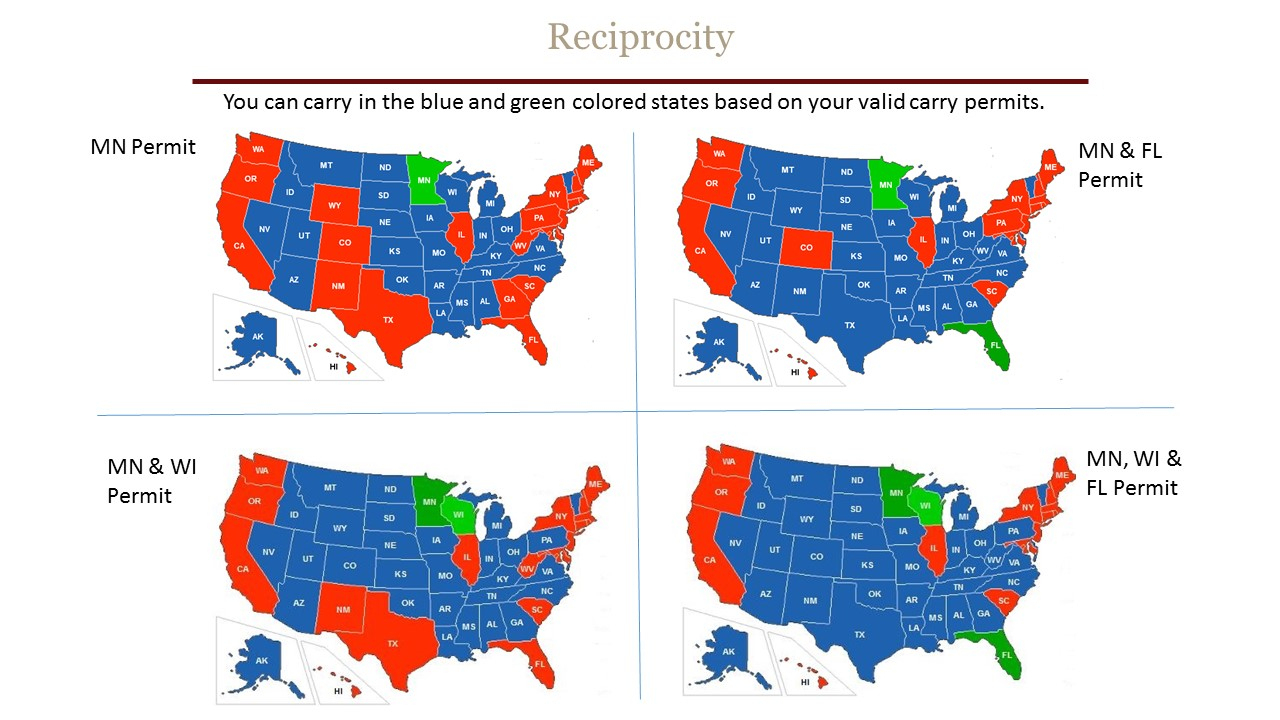 Reciprocity - Chandler's Conceal & Carry - Florida Concealed Carry States Map