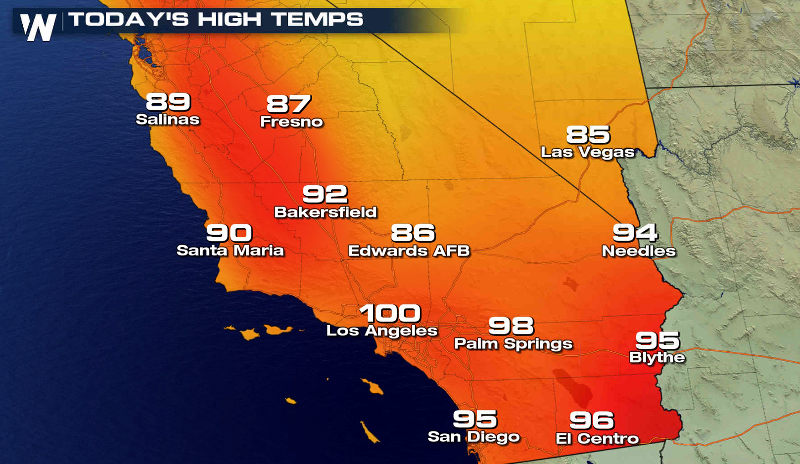 Record Heat Southern California California Map With Cities - California Temperature Map Today