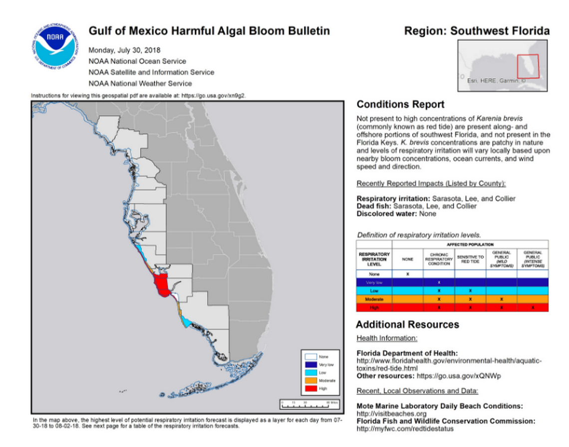Red Tide Decimates Wildlife Along Florida's Southwest Coast   Miami - Current Red Tide Map Florida