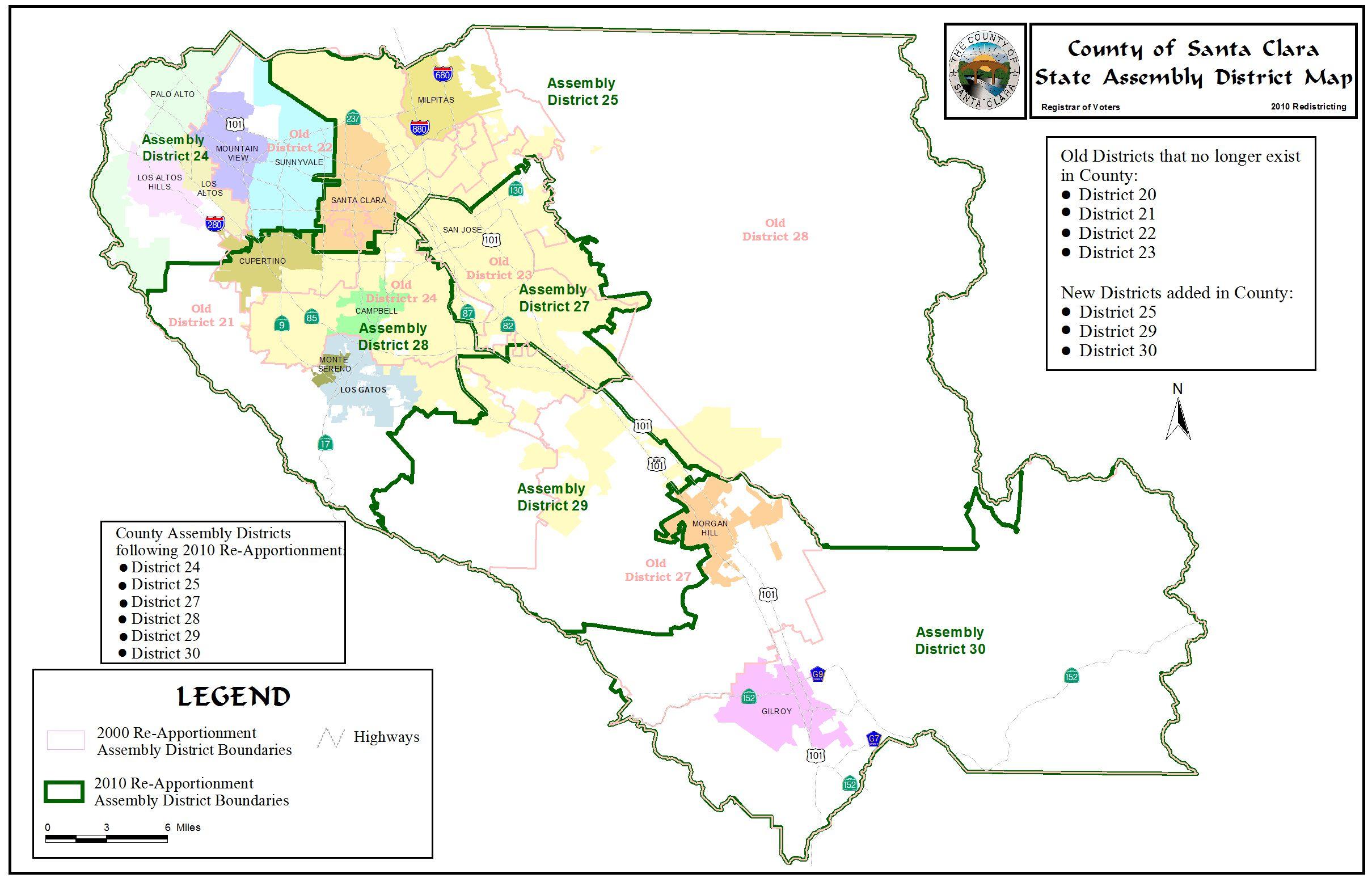 Redistricting Registrar Of Voters County Santa Clara With San Jose - Santa Clara California Map