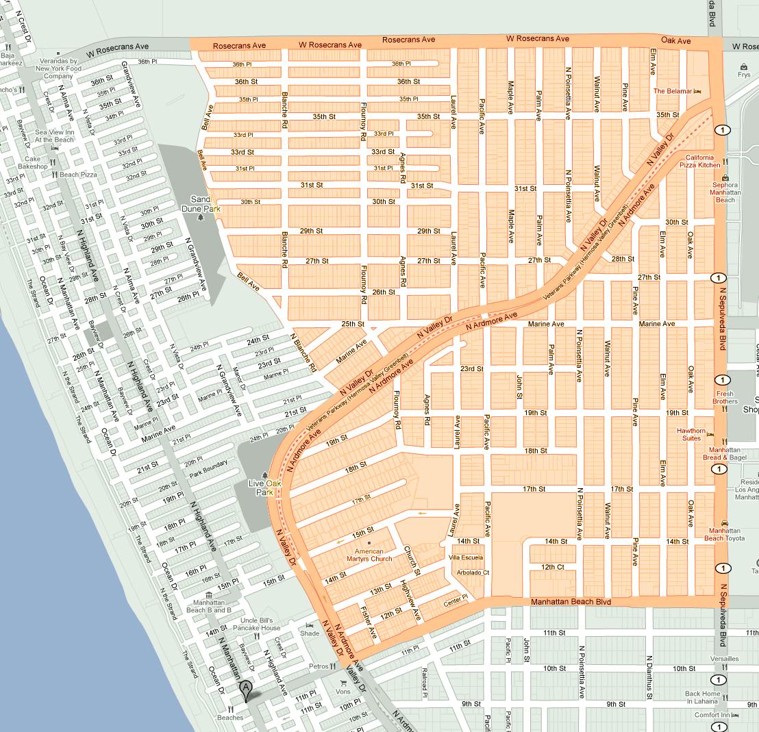 Redondo Beach Map Map New Of Manhattan Beach California Map - Klipy - Redondo Beach California Map