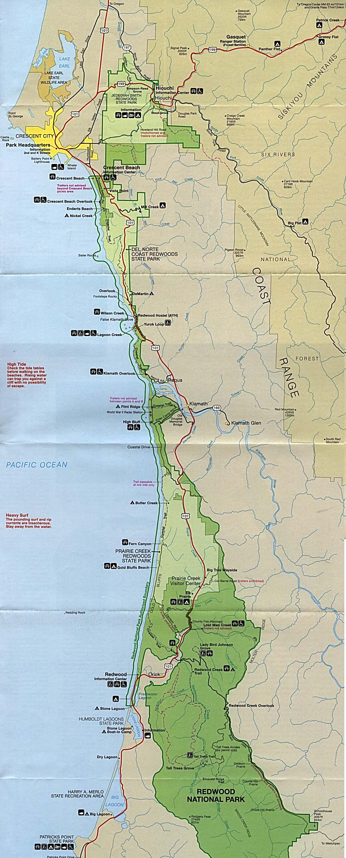 Redwood National Park Map Map Of California Springs California - Redwood Park California Map