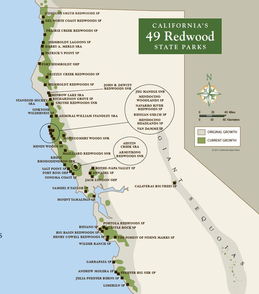 Redwood Parks Pass Map California Redwood Forest California Map - Redwood Park California Map