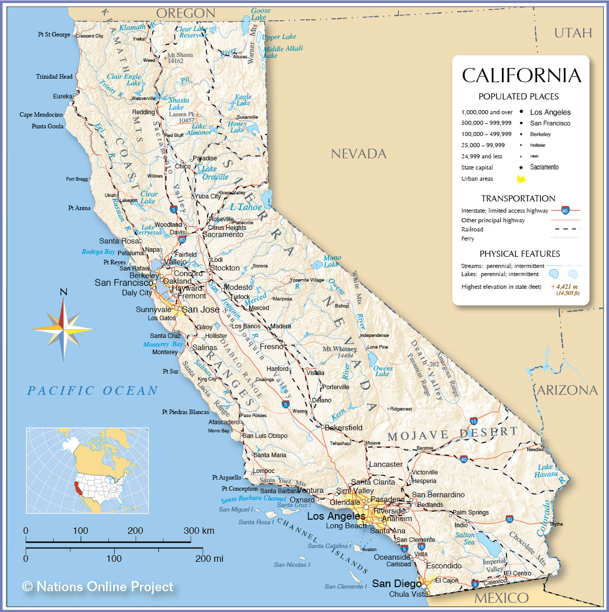 Reference Map Of California Usa Nations Online Project At - Touran - Online Map Of California