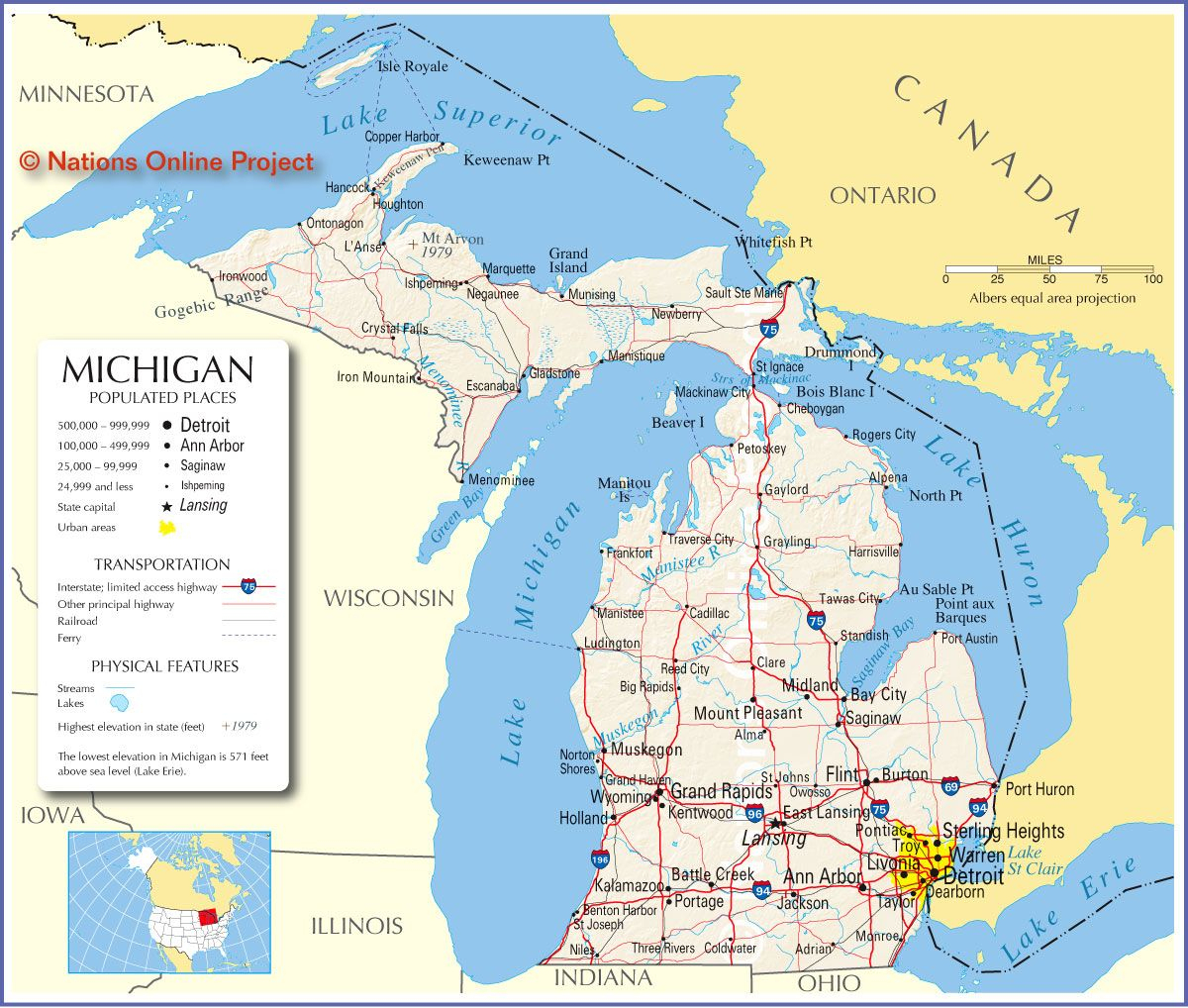 Reference Map Of Michigan, Usa - Nations Online Project   ~ The - Printable Upper Peninsula Map