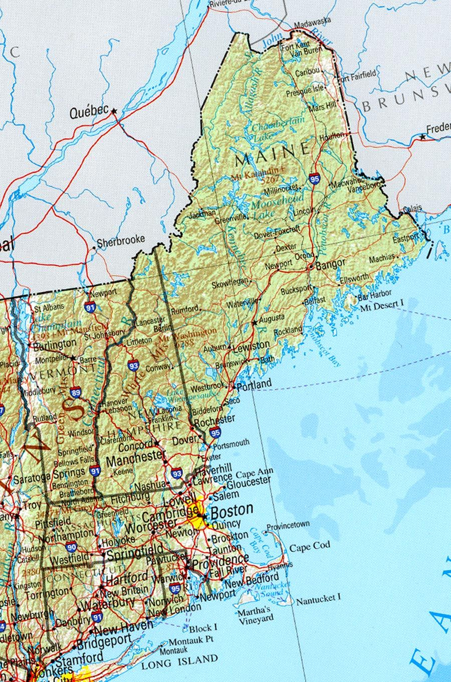 Reference Map Of New England State, Ma Physical Map   Crafts - Printable Map Of Maine Coast