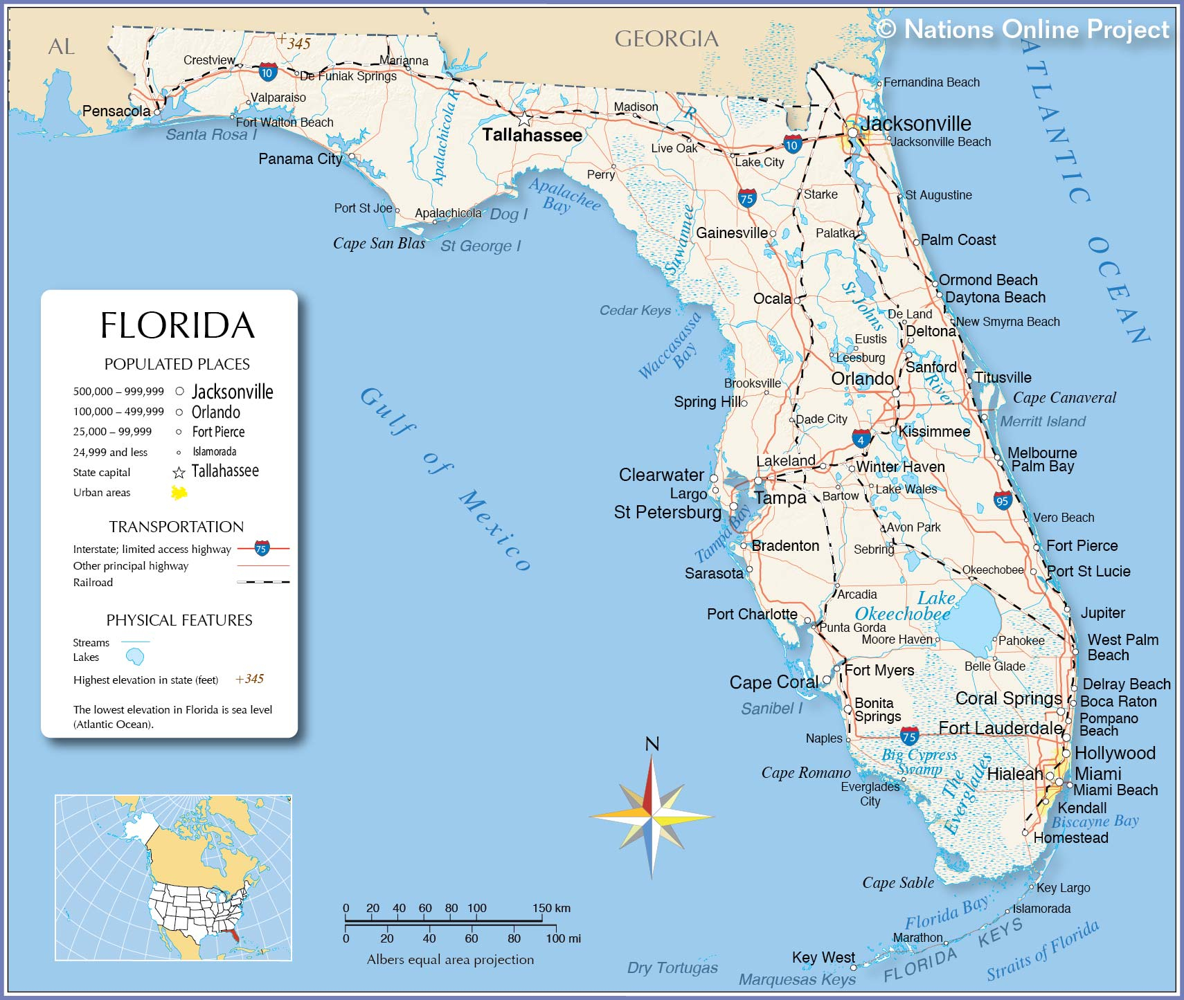 Reference Maps Of Florida, Usa - Nations Online Project - Google Map Of Florida Cities