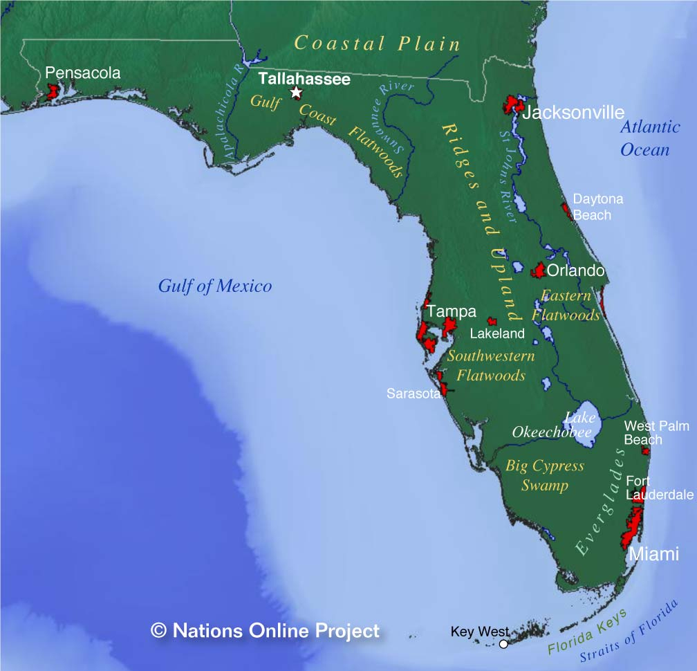 Reference Maps Of Florida, Usa - Nations Online Project - Where Is Apalachicola Florida On The Map