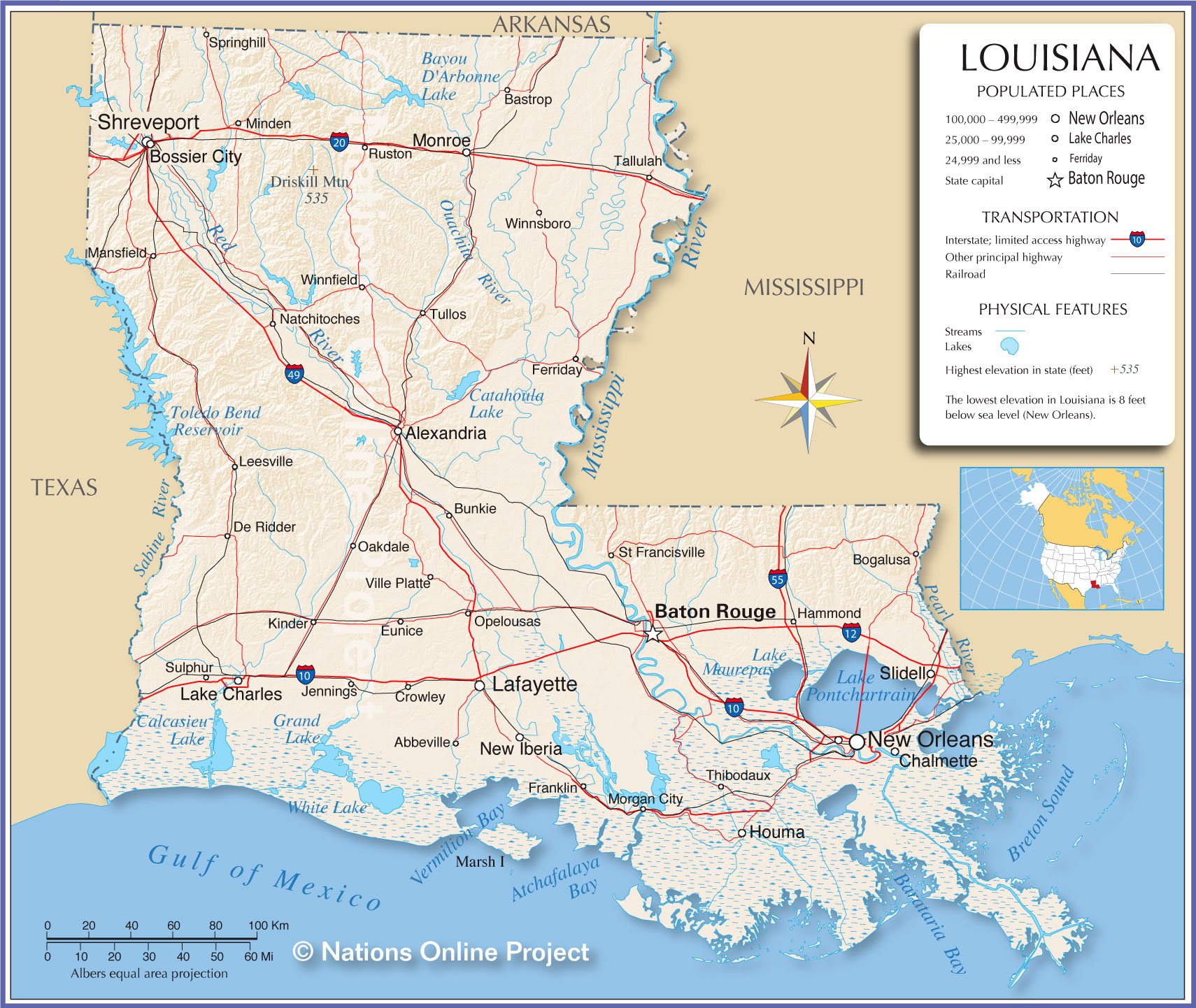 Reference Maps Of Louisiana, Usa - Nations Online Project - Texas Louisiana Border Map