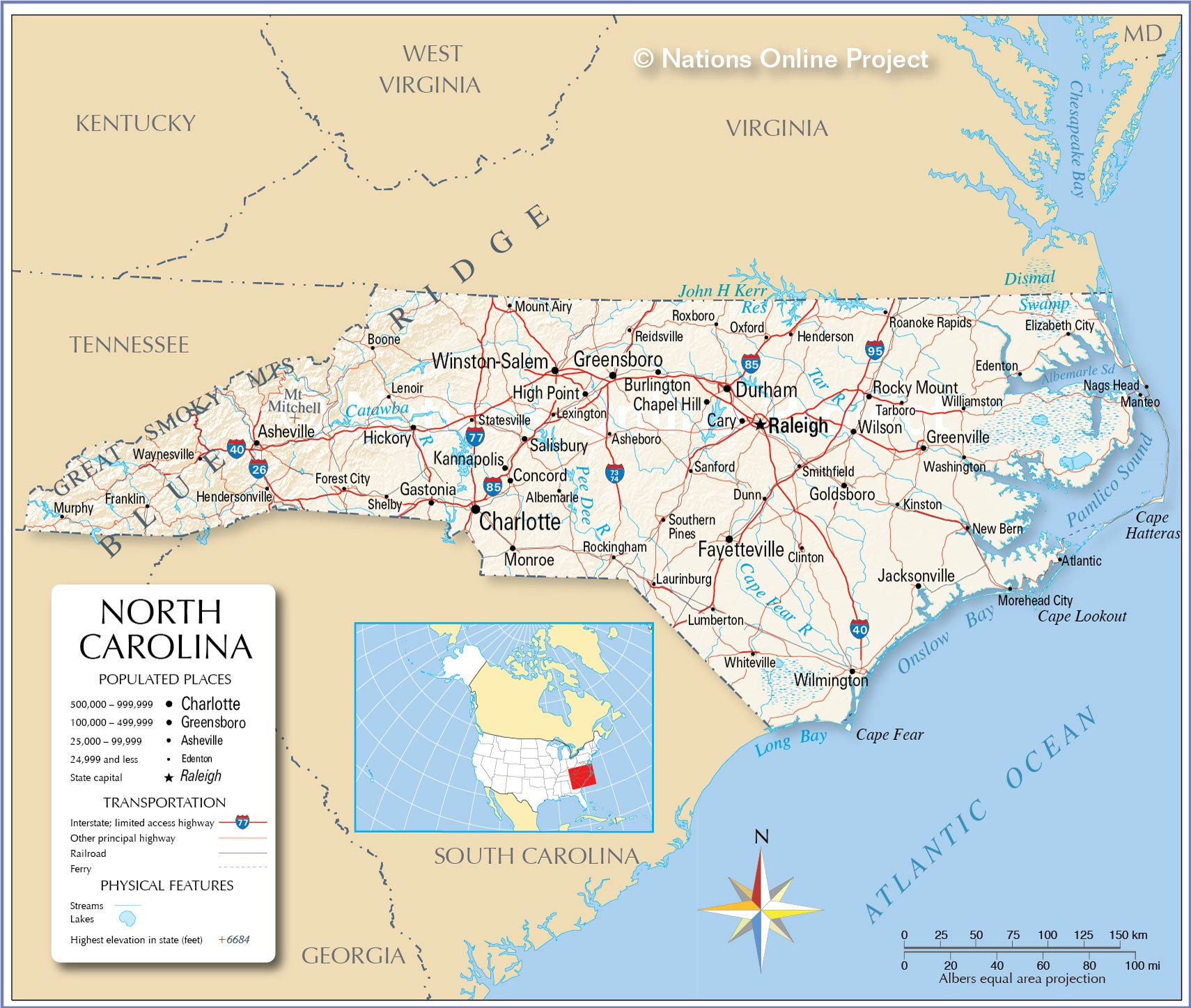 Reference Maps Of North Carolina, Usa - Nations Online Project - Printable Map Of North Carolina