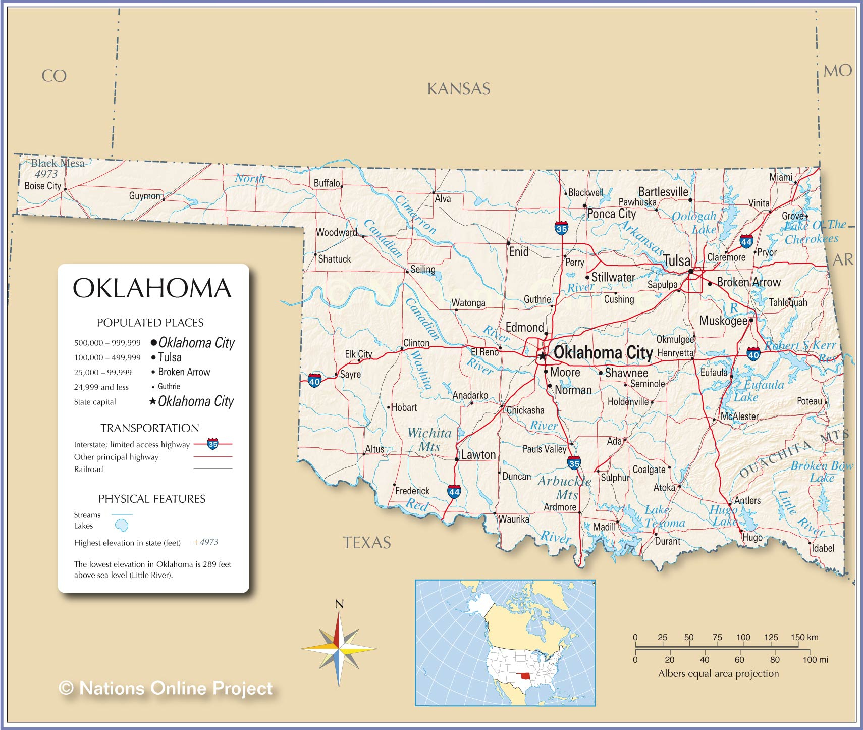 Reference Maps Of Oklahoma, Usa - Nations Online Project - Map Of North Texas And Oklahoma