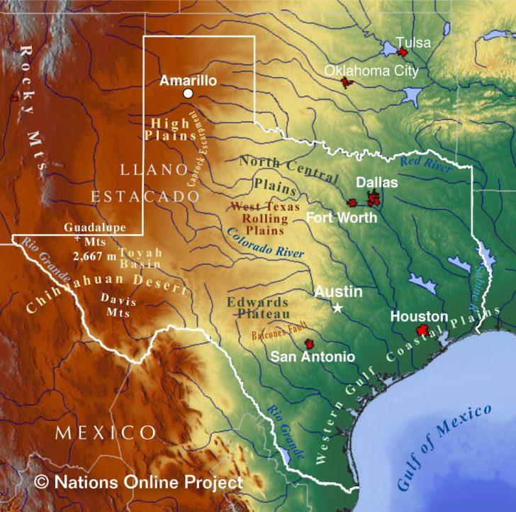 Show Me A Map Of Texas Usa