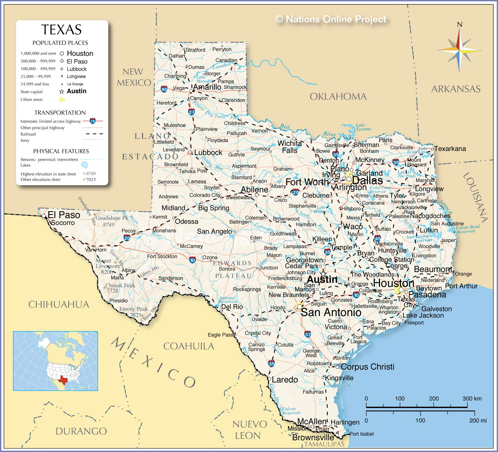 Reference Maps Of Texas, Usa - Nations Online Project - State Map Of Texas Showing Cities