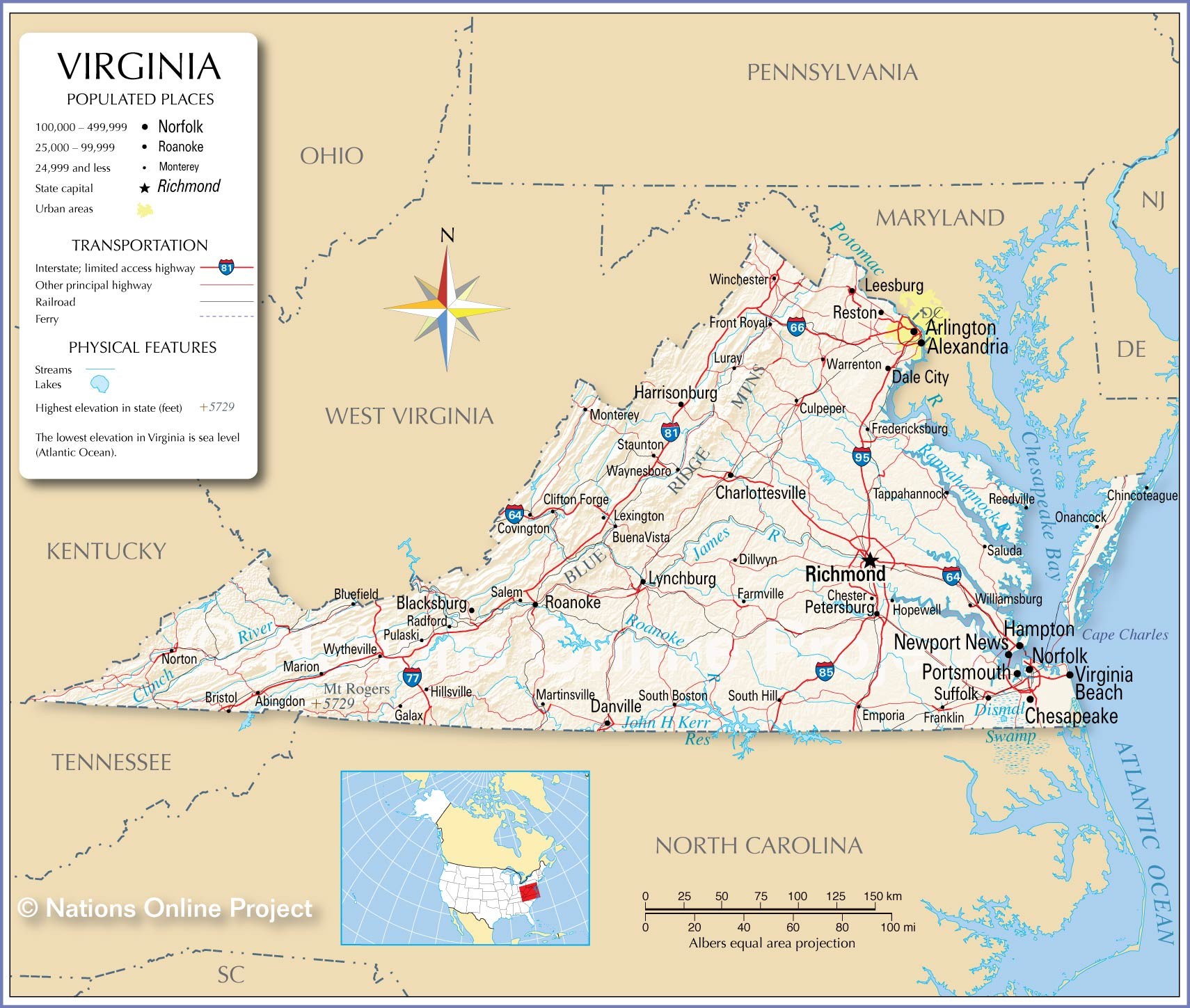 Reference Maps Of Virginia, Usa - Nations Online Project - Printable Map Of Norfolk Va