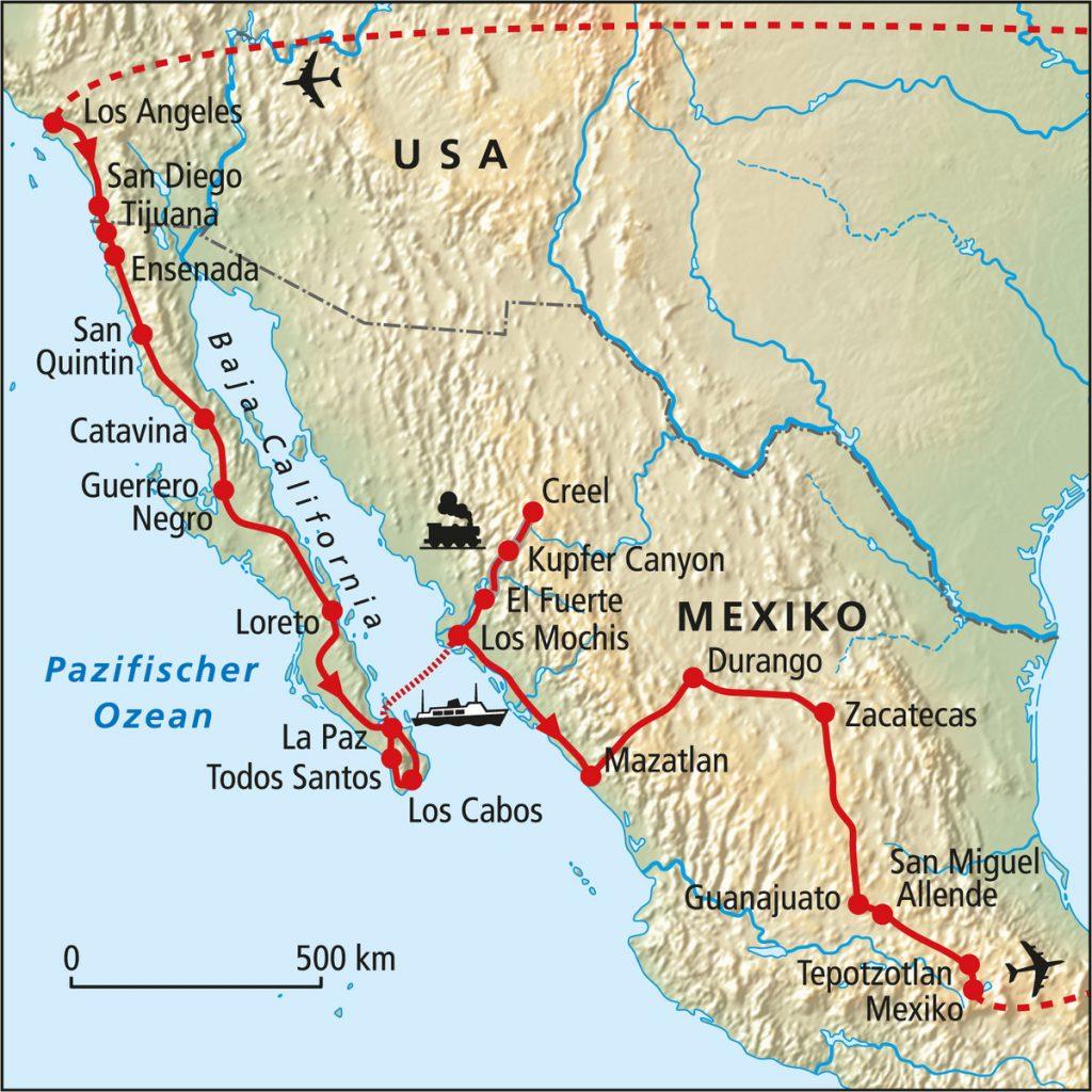 Reise Auf Der Traumstrasse Der Map Of California Springs Map Of - San Quintin Baja California Map