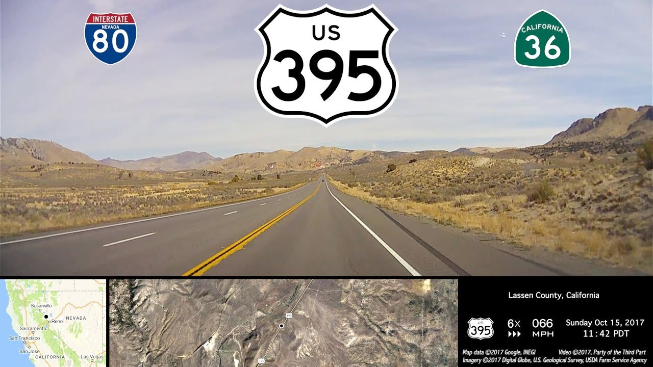Reno, Nv To Susanville, Ca High Desert Drive-Lapse On Us Route 395 - Route 395 California Map