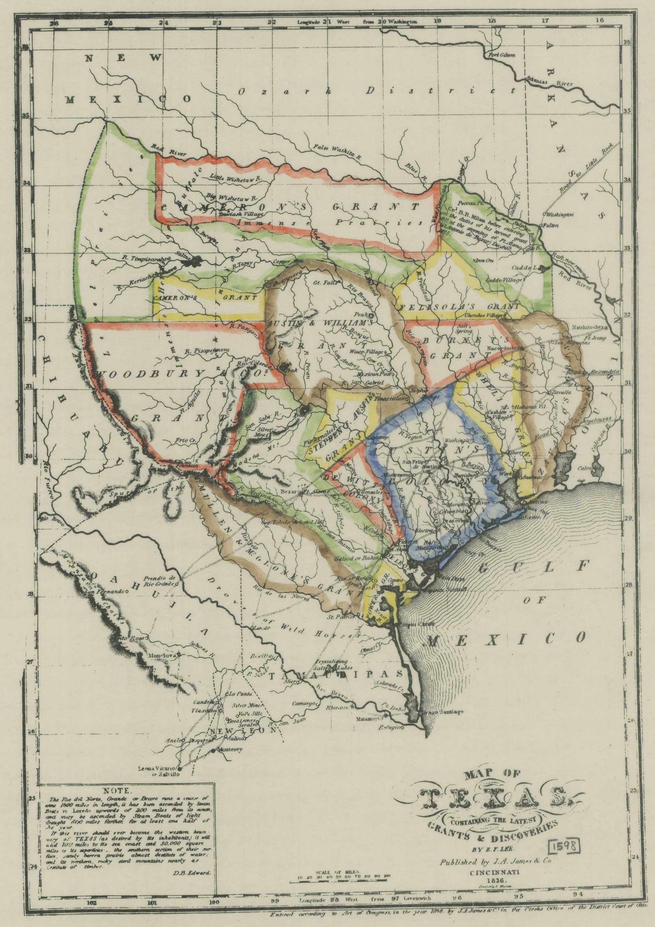 Reproduction Of An 1836 Map Of Texas | Products | Texas, Map - Texas Map 1836