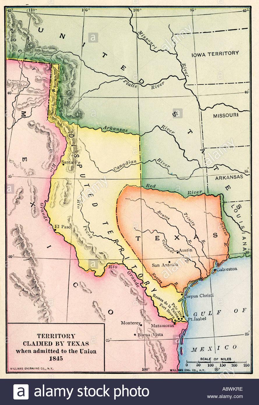Republic Of Texas Stock Photos & Republic Of Texas Stock Images - Alamy - Republic Of Texas Map 1845