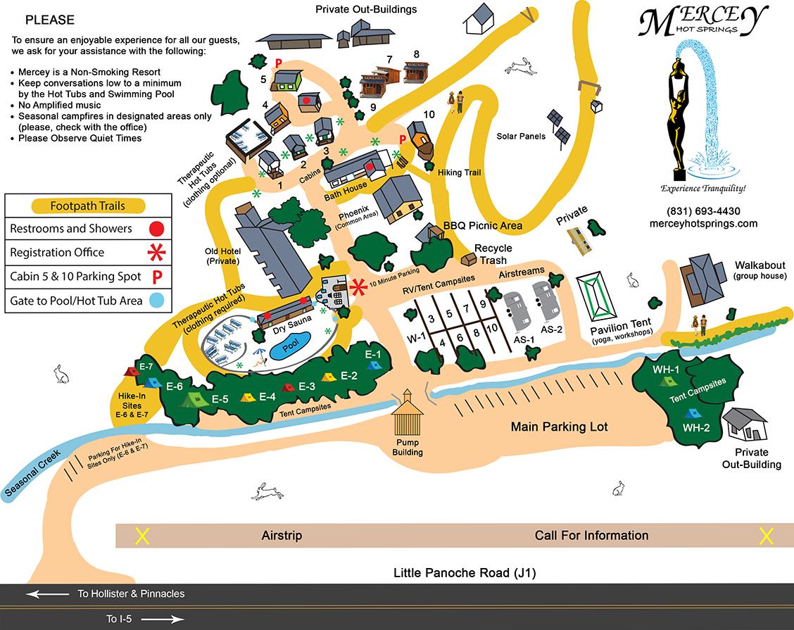 Resort Map | Mercey Hot Springs - Hot Springs California Map