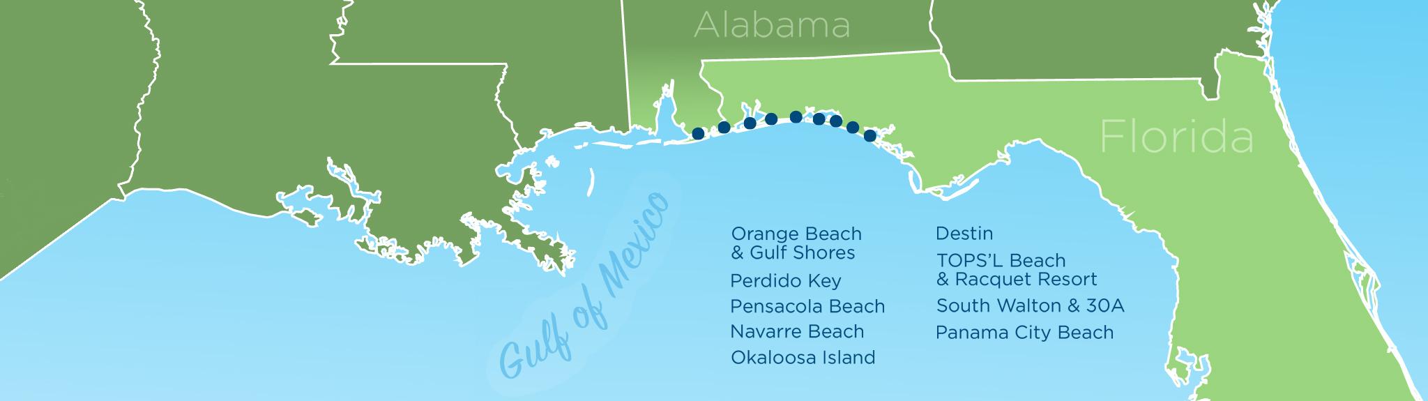 Resortquest Real Estate | Nw Fl & Al Gulf Coast Condos And Homes For - Panama City And Destin Florida Map