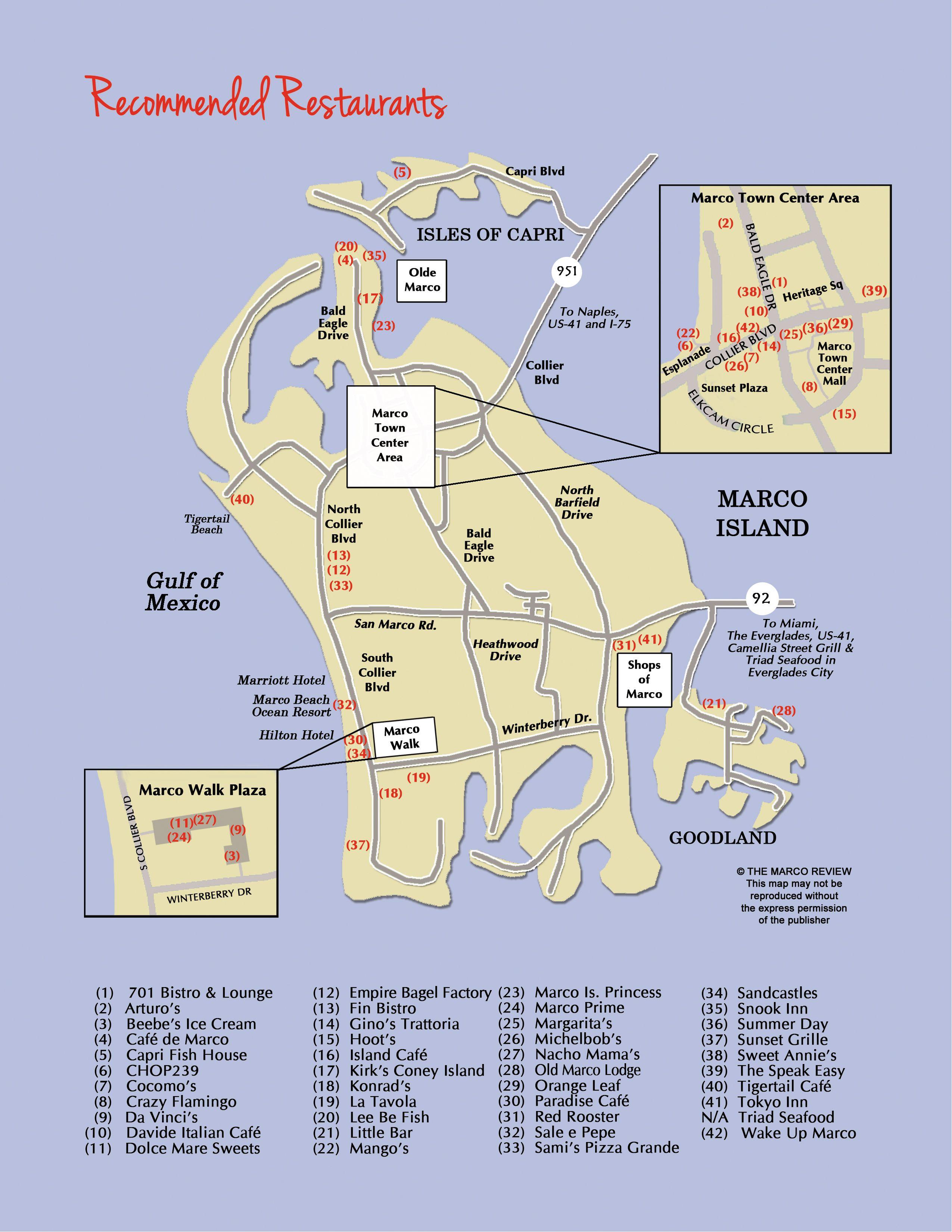 Restaurant Map Of Marco Island, Florida Restaurants. | Oh, The - Marco Island Florida Map