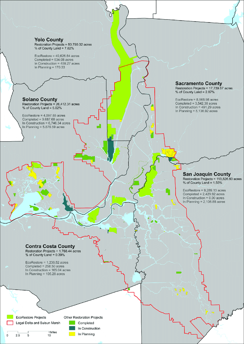Restored Landscapes In The California Delta: Current And Planned, As - California Delta Map Download