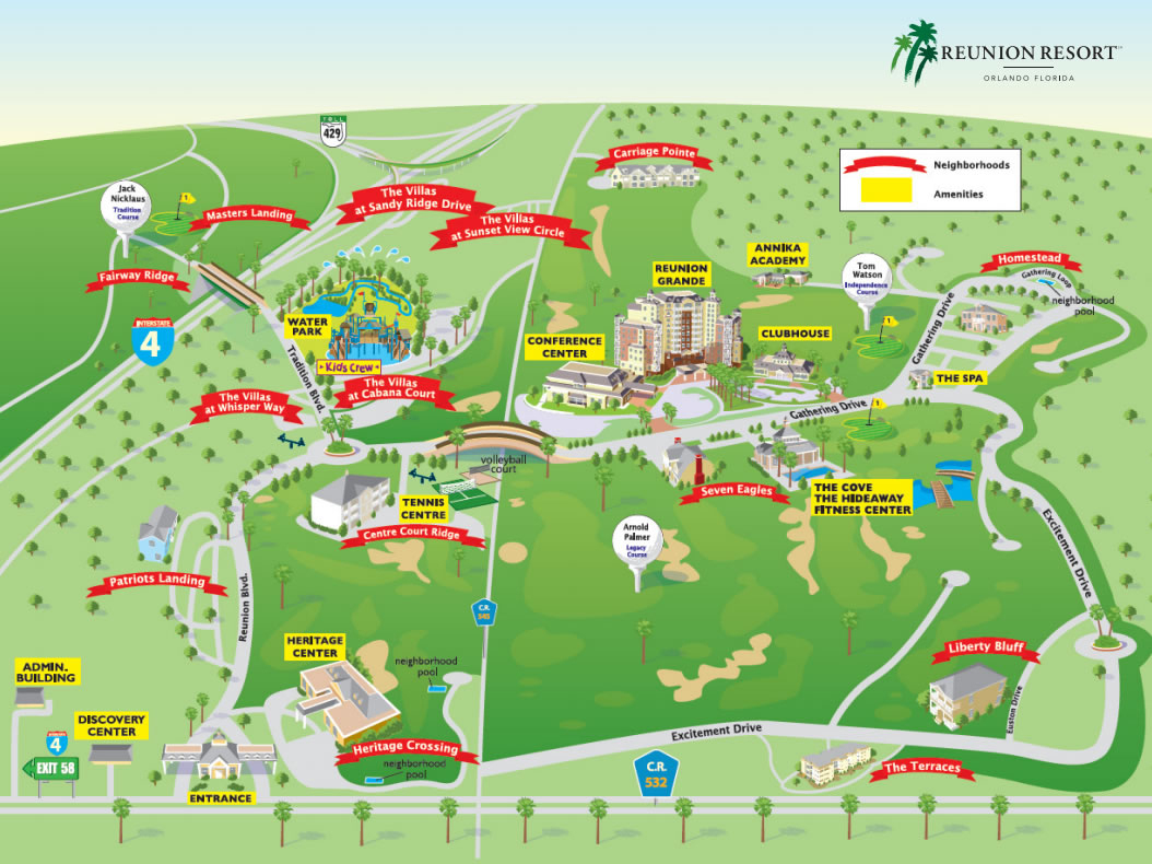 Reunion Resort - Map Of Reunion Resort Florida