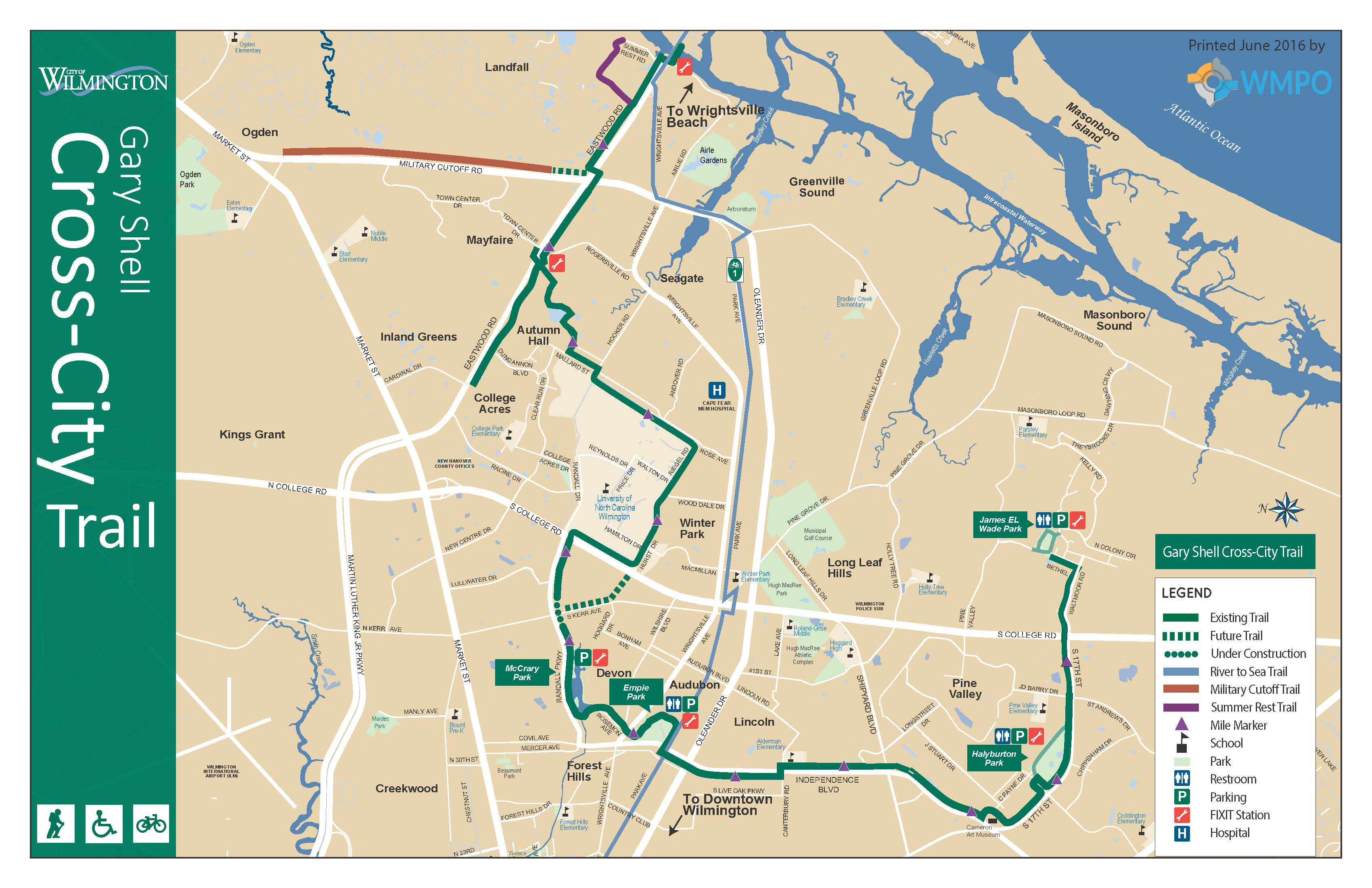 River To The Sea Bikeway In Wilmington, Nc - Printable Map Of Wilmington Nc