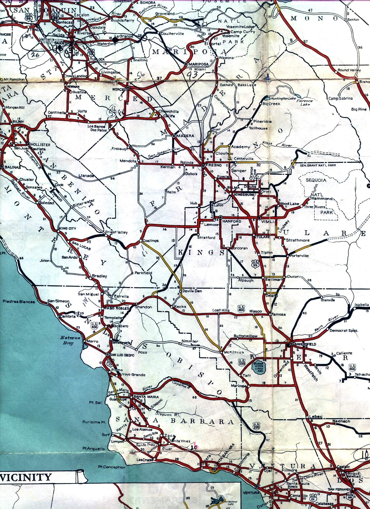 Road Map Of Central California - Klipy - Central California Road Map