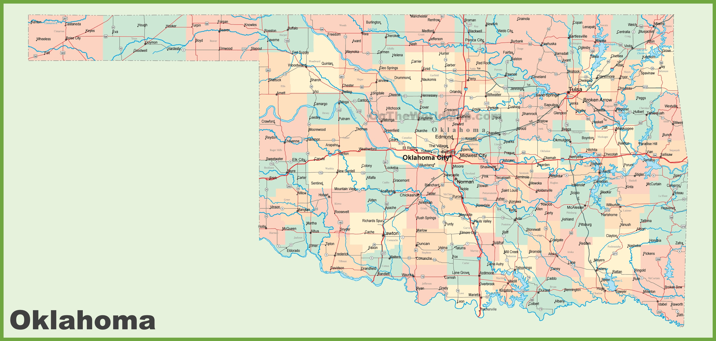 Road Map Of Oklahoma With Cities - Map Of North Texas And Oklahoma
