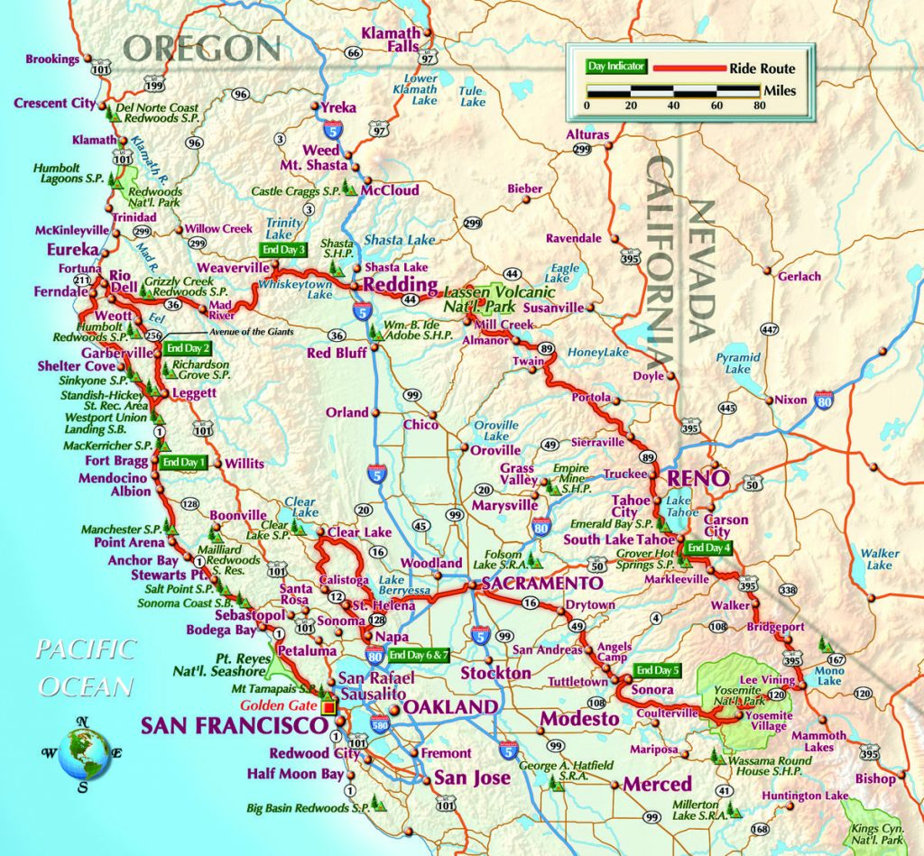 Road Map Of Oregon And California - Klipy - Driving Map Of Northern California