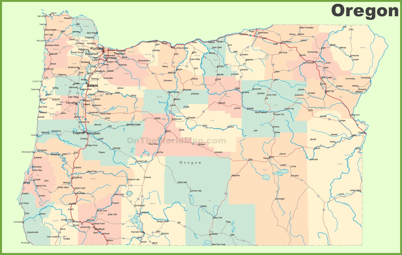 Road Map Of Oregon With Cities - California Oregon Washington Road Map