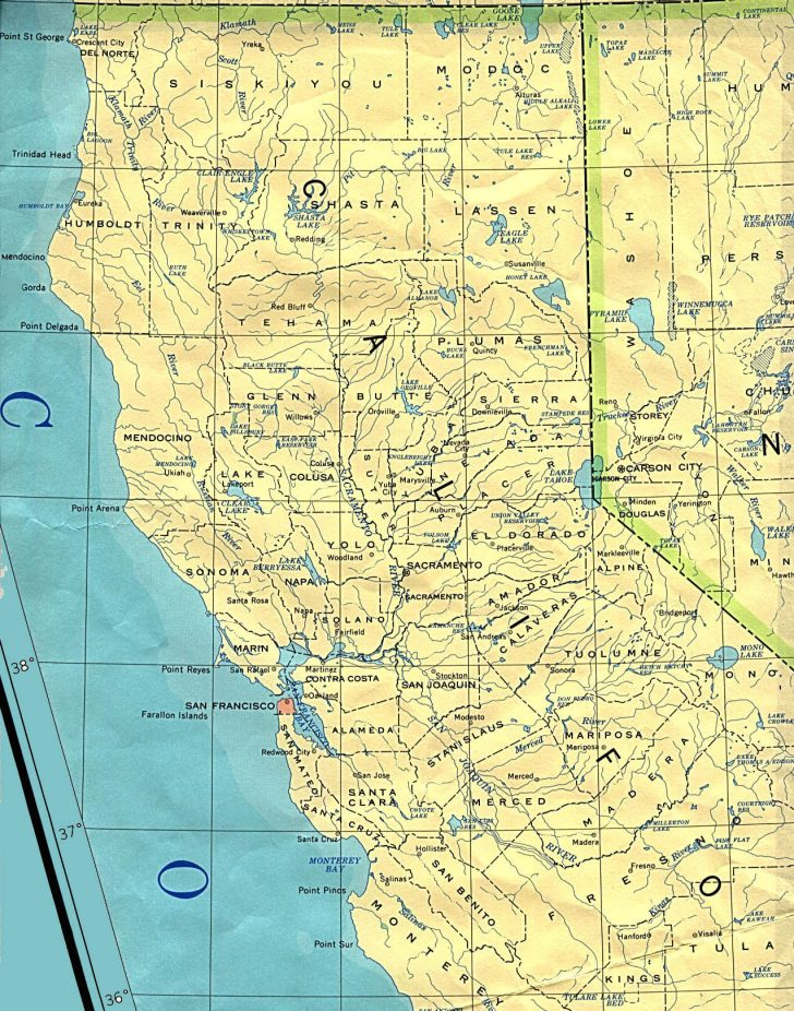 Road Map Of Southern Oregon And Northern California