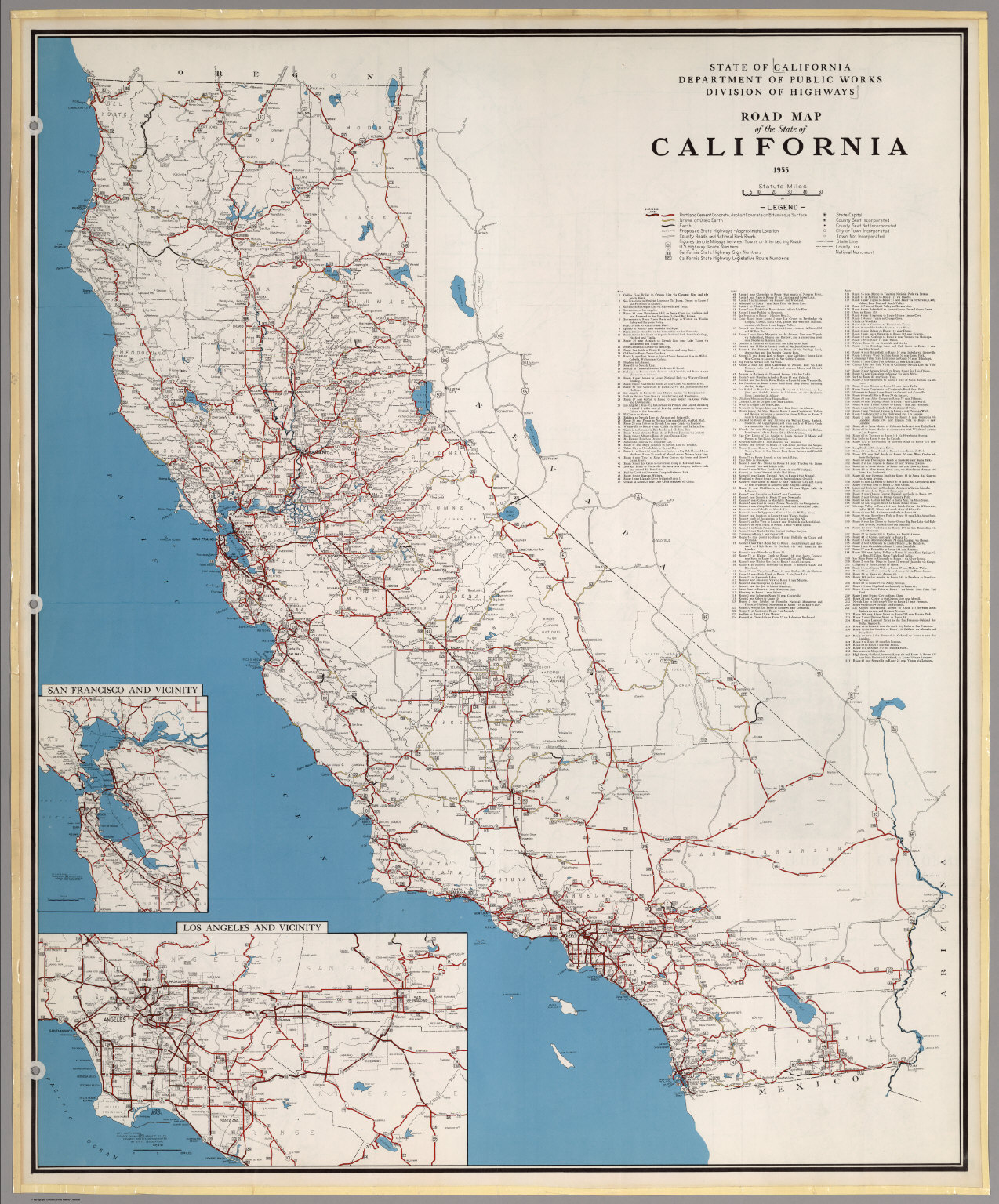 Road Map Of The State Of California, 1955. - David Rumsey Historical - Historical Map Of California